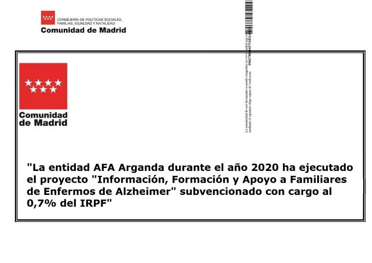 Subvención CAM Info a fam. 2020